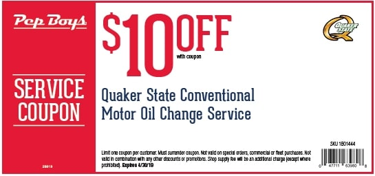 $10 OFF Pep Boys Conventional Oil Change Service