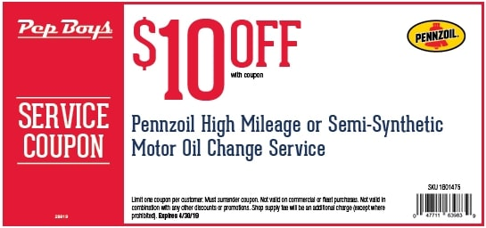 $10 OFF Pep Boys High Mileage or Semi Synthetic Oil Change