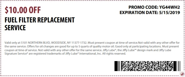 $10 Off Jiffy Lube Fuel Filter Replacement Service Discount