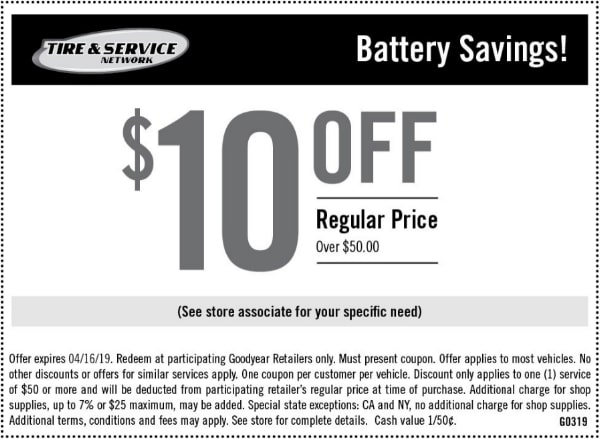 $10 Off Goodyear Battery Savings