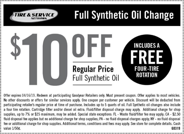 $10 Off Goodyear Full Synthetic Oil Change