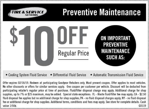 $10 Off Goodyear Preventive Car Maintenance