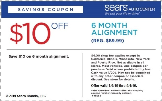 $10 Off Sears Six Month Wheel Alignment Coupon