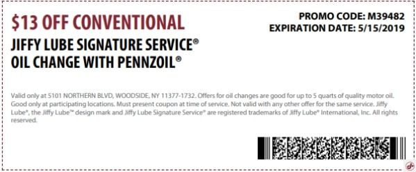 $13 Off Conventional Oil Change Discount