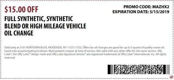 $15 OFF Jiffy Lube Synthetic High Mileage Oil Discount