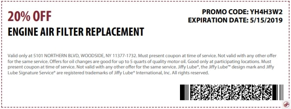 $20 OFF Jiffy Lube Engine Air Filter Replacement Discount