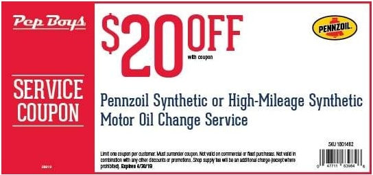 $20 OFF Pep Boys Synthetic High Mileage Oil Change Service