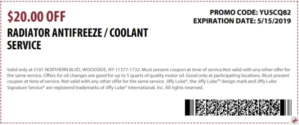 $20 OFF Radiator Antifreeze Coolant Service Discount