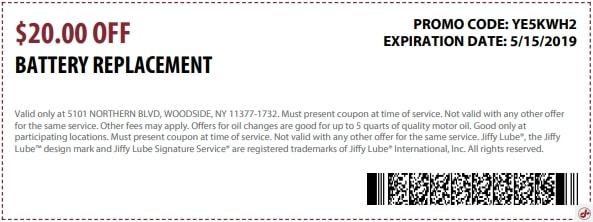 $20 Off Jiffy Lube Battery Replacement Discount