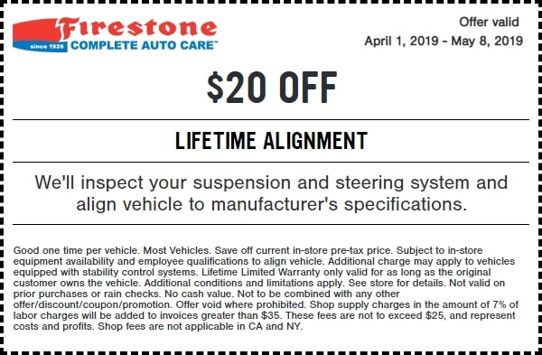 $20 Off Firestone Lifetime Alignment