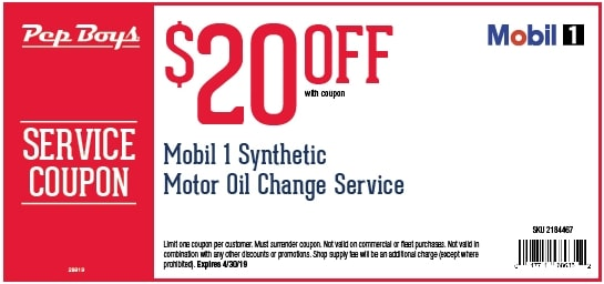 $20 Off Mobil 1 Pep Boys Synthetic Oil Change