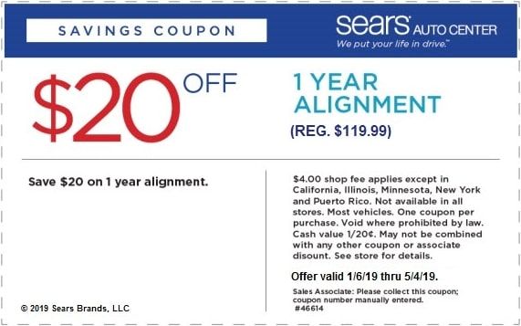 $20 Off Sears 1 Year Wheel Alignment Coupon