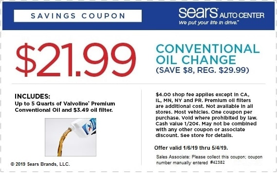 $21.99 Sears Conventional Oil Change Coupon