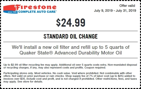 $24.99 Firestone Standard Oil Change