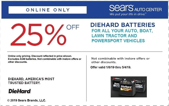 25% OFF Sears Diehard Batteries Coupon