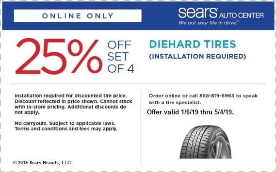 25% OFF Sears Diehard Tires Coupon