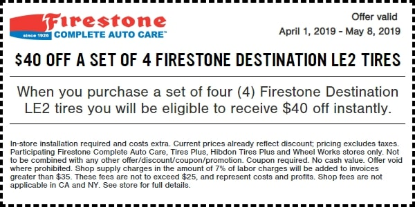 $40 OFF Firestone Destination LE2 Tires