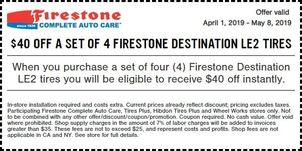 $40 OFF Firestone Destination LE2 Tires