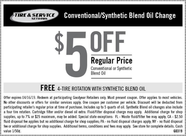 $5 Off Goodyear Conventional-Synthetic Blend Oil Change