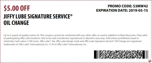 $5 Off Jiffy Lube Signature Service Oil Change Coupon