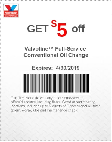 $5 Off Valvoline Conventional Oil Change