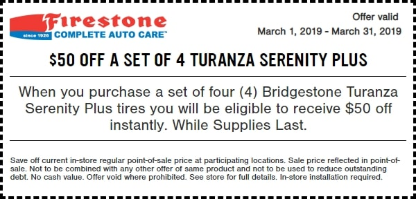 $50 OFF Bridgestone Turanza Serenity Plus Tires