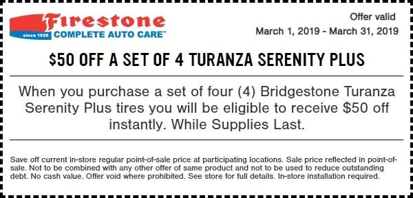 $50 OFF Bridgestone Turanza Serenity Plus Tires