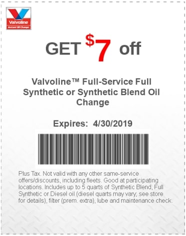 $7 Off Valvoline Full Synthetic-Synthetic Blend Oil Change