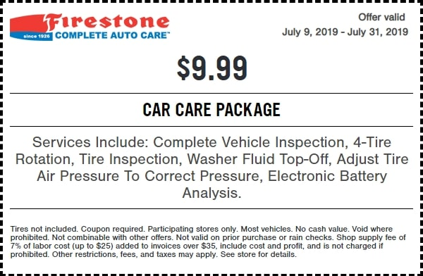 $9.99 Firestone Car Care Package Coupon