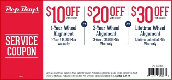 Up To $30 OFF Pep Boys Wheel Alignment