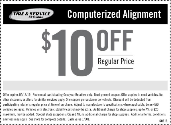 $10 Off Goodyear Wheel Alignment Discount