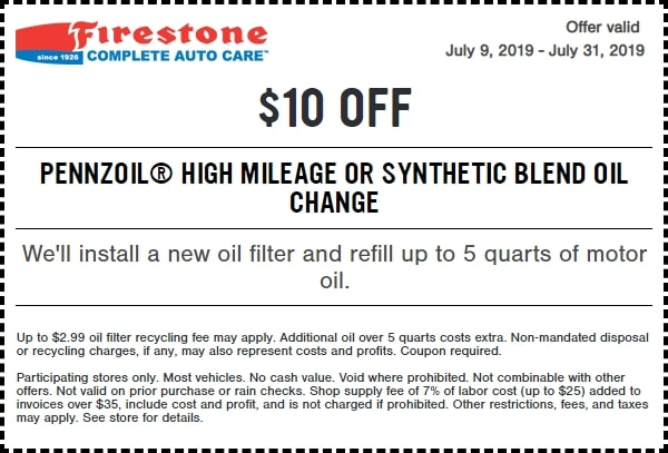 $10 Off Firestone High Mileage or Synthetic Blend Oil Change