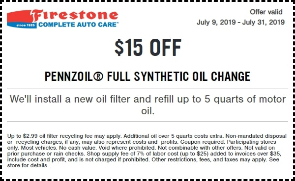 $15 Off Full Synthetic Oil Change March 2019