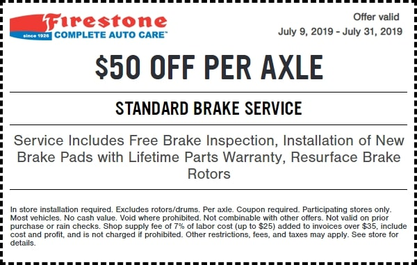 $60 Off Standard Brake Service Firestone Coupon March 2019