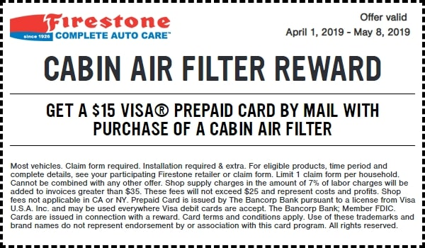 $15 Off Firestone Cabin Air Filter Reward
