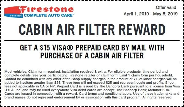 $15 Off Firestone Cabin Air Filter Reward