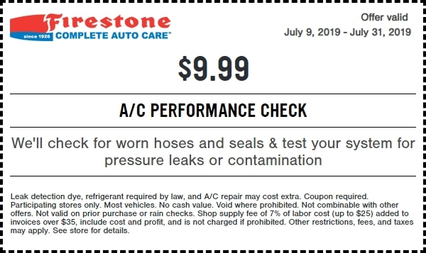 $19.99 Firestone A/C Performance Check