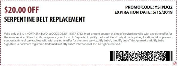 $20 Off Serpentine Belt Replacement Coupon
