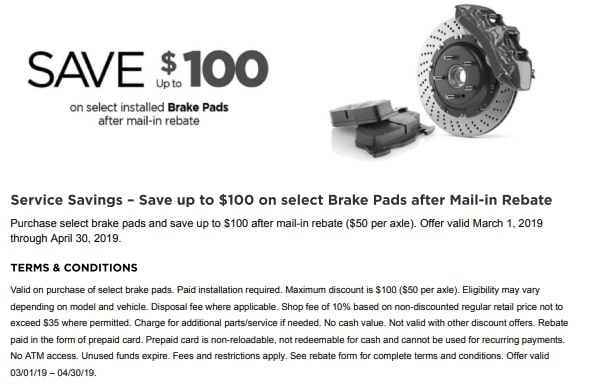 Save $100 on select brake pads