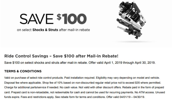 save $100 on select shocks and struts