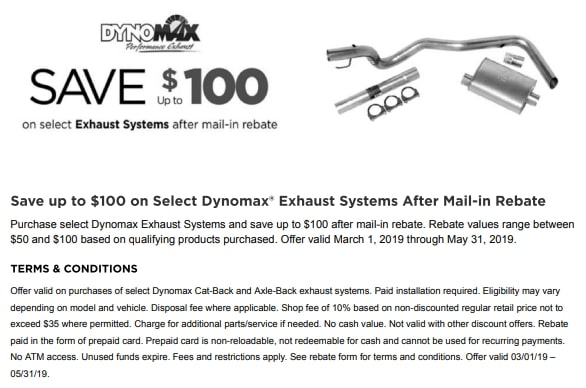 Save up to $100 on select exhaust systems NTB coupon